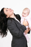 cheerful mother and baby poster