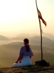 sunrise meditation & flag