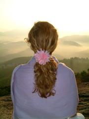 sunrise meditation and flower