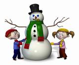 children with snowman poster