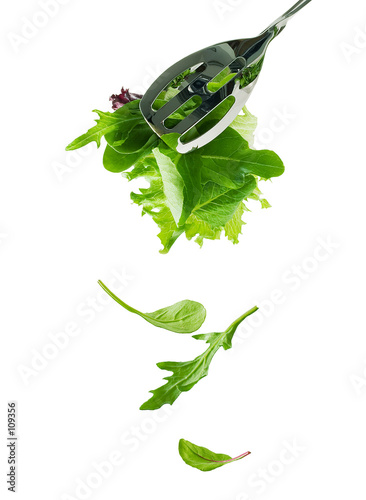 falling salad leaves