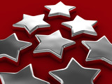 chrome stars on red poster