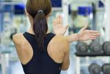 shoulder stretch in gym poster
