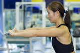 dumbbell raise in gym poster