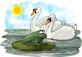 two swans and a frog poster