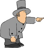 man in a tophat pointing poster