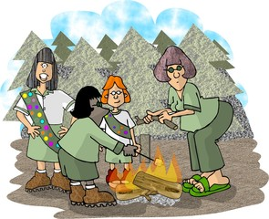 girls on a scouting trip
