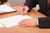 businessman signing papers poster