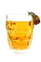 caracol bebiendo cerveza