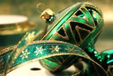 green christmas ball poster