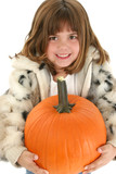 beautiful five year old girl with pumpkin poster