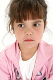 close up of sad five year old girl poster