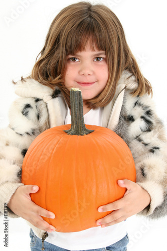 poster of beautiful five year old girl with pumpkin