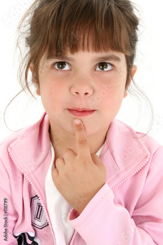 poster of beautiful five year old girl thinking