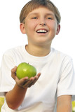 healthy lifestyle boy with apple in his palm poster