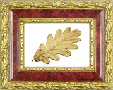 framed golden oak leaf poster
