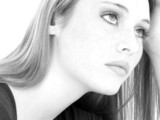 casual teen girl close up black and white poster