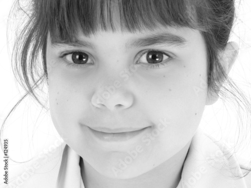 poster of close up of beautiful five year old girl in black