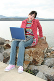 outdoors with laptop poster