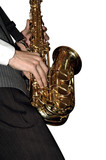 playing shiny saxophone (isolated) poster