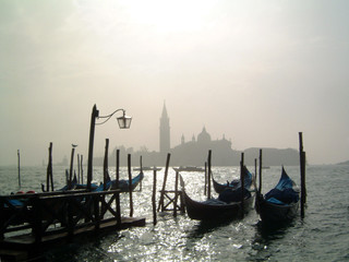 gondolas in the morning