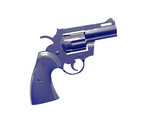 silver blue pistol poster