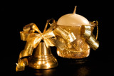 gold christmas handbell and candle poster