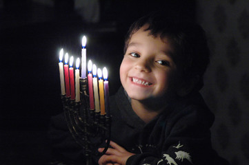 p.j. with menorah