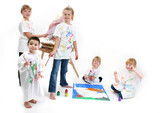 group of kids painting poster