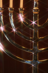 close up of silver menorah