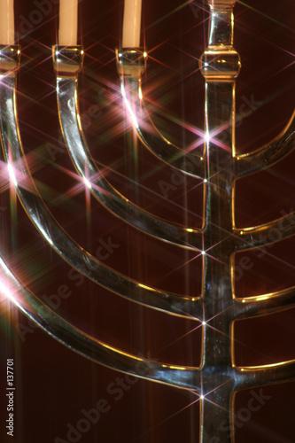 close up of silver menorah