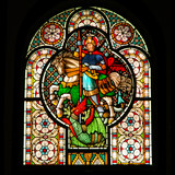 stained-glass church window poster