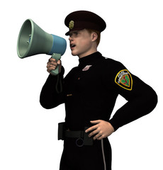 policeman with megaphone