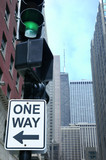 one way sign, chicago, illinois poster