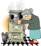 old lady cooking poster