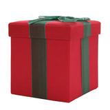 red and green fabric gift box poster