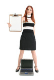 businesswoman with laptop and clipboard poster