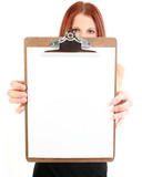 businesswoman holding blank clipboard poster