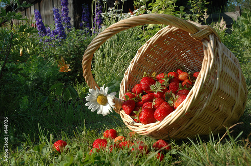 the basket with strawberries.