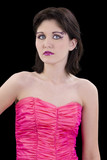 beautiful young woman in pink face art and beads poster