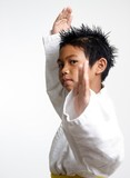 stock photo of kid in fighting stance poster