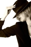 lady with black hat in sepia poster