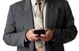 business man holding blackberry poster