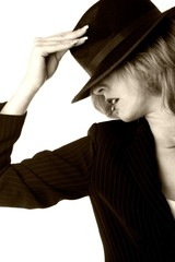 lady with black hat in sepia