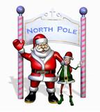 santa and elf at north pole poster