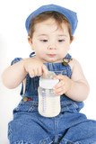 sitting baby with milk poster