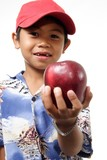 child offering apple poster