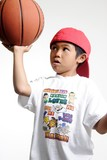 little boy trying to balance a basketball poster