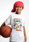 smiling young lad holding his basketball poster