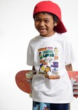 young boy holding his skateboard behind his back poster
